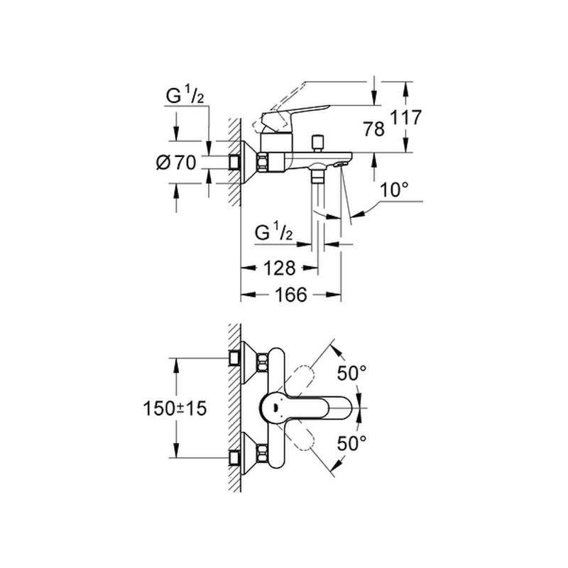 Grohe Bauedge Einhand Wannenbatterie 23334000 Chrom
