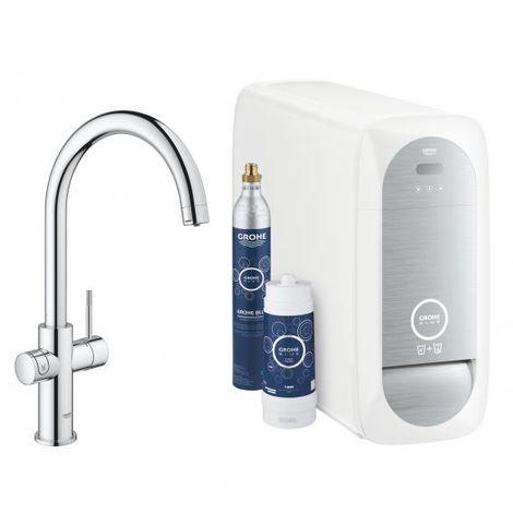 Grohe Blue Home C-spout Starter Kit 31455 Miscelatore monocomando per lavello con funzione di filtro, con raffreddatore e WIFI, colorazione: cromo - 31455001