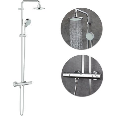 GROHE Chrome Tempesta Round Modern Thermostatic Rigid Riser Shower Kit WRAS