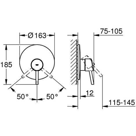 GROHE CONCETTO Einhand-Brausebatterie Fertigmontageset für 35501 chrom