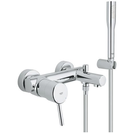 Grohe Concetto single-lever bath mixer, wall mounting, with shower set, automatic bath/shower conversion - 32212001