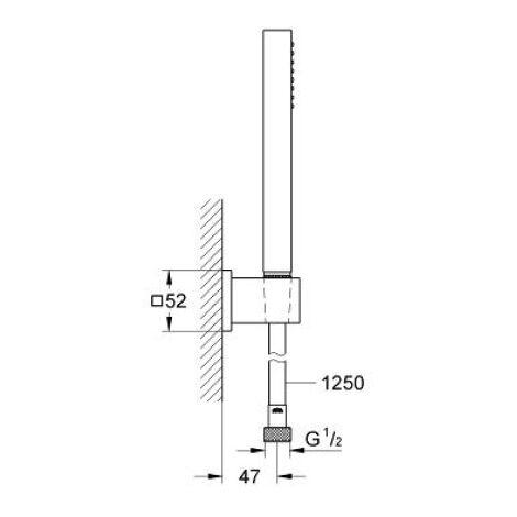 Grohe - Conjunto Ducha mural 1 chorro de cromo de flujo 8L/min Euphoria Cube Stick