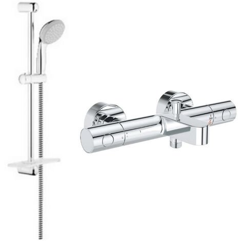 Grohe - Ensemble de bain mitigeur Grohtherm avec douchette + barre de douche + porte savon Tempesta