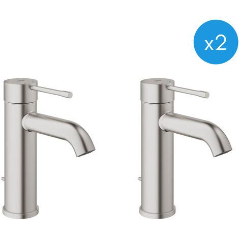 """Grohe ESSENCE NEW - Lot de 2 Mitigeurs monocommande, 1/2"""" pour lavabo Taille S SuperSteel (23589DC1-DUO)"""