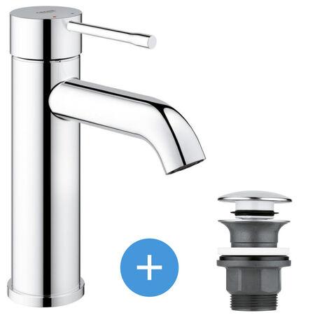 Grohe Essence - set mitigeur de lavabo taille S + Bonde clic clac Grohe pour lavabo avec trop-plein (23590001-CLICCLAC)