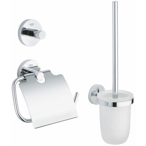 """main image of """"Grohe Essentials Set d'accessoires 3 en 1 : Patère murale + Brosse WC et support + Support papier-toilette, chrome (40407001)"""""""
