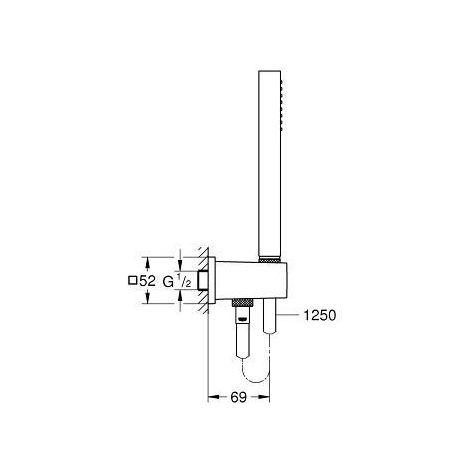 Grohe Euphoria Cube - Shower Kit Stick with bracket, 1 jet, chrome 26405000