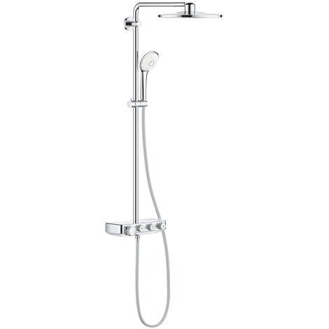 Grohe Euphoria SmartControl System 310 Duo, sistema de ducha con mezclador termostático, montado en la pared, cromado, color: Blanco Luna - 26507LS0
