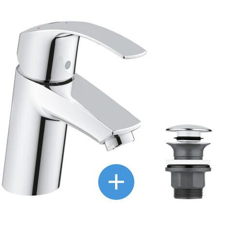 Grohe Eurosmart Set Mitigeur lavabo Taille S + Bonde clic clac Grohe pour lavabo avec trop-plein (32154002-CLICCLAC)