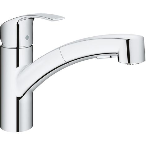Grohe Eurosmart single-lever sink mixer DN 15, single-hole mounting, flat spout, pull-out dual rinsing spray
