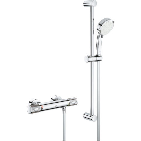 Grohe Grohtherm 1000 performance, mitigeur thermostatique douche 1/2' avec ensemble de douche, chrome (34787000)