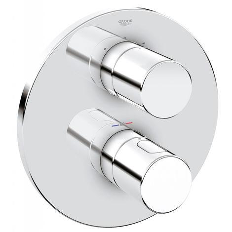 Grohe Grohtherm 3000 Cosmopolitan Thermostat avec interrupteur 2 voies intégré pour baignoire/douche, 2 consommateurs, rosette ronde, Coloris: acier super - 19468DC0