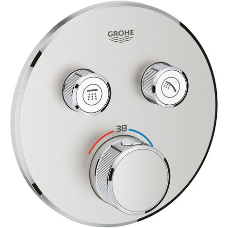 Grohe Grohtherm SmartControl Thermostat for concealed installation with 2 valves, Supersteel (29119DC0)