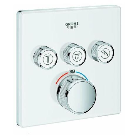 Grohe Grohtherm Thermostat Grohtherm SmartControl avec trois vannes d'arrêt, rose murale blanc lune - 29157LS0