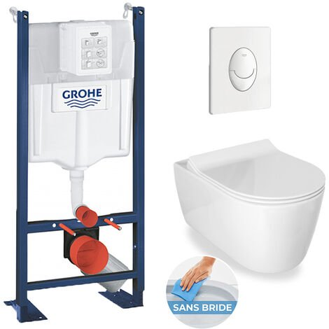 Grohe / Idevit Pack WC Rapid SL autoportant + cuvette Alfa sans bride + plaque blanche (ProjectAlfaRimless-3)