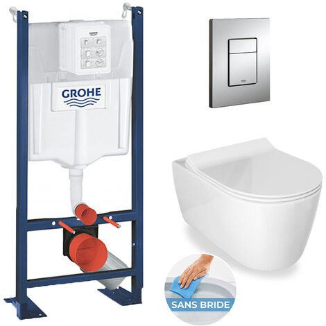 Grohe / Idevit Pack WC Rapid SL autoportant + cuvette Alfa sans bride + plaque chrome (ProjectAlfaRimless-1)