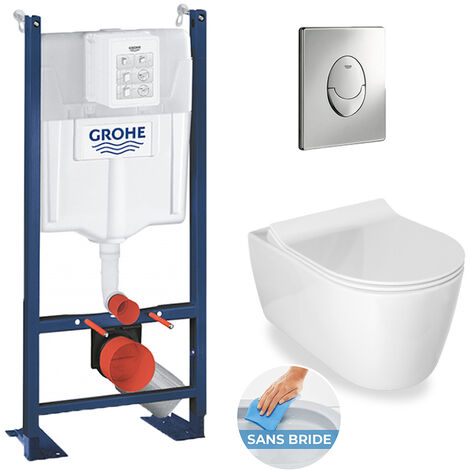 Grohe / Idevit Pack WC Rapid SL autoportant + cuvette Alfa sans bride + plaque Skate Air chrome (ProjectAlfaRimless-2)