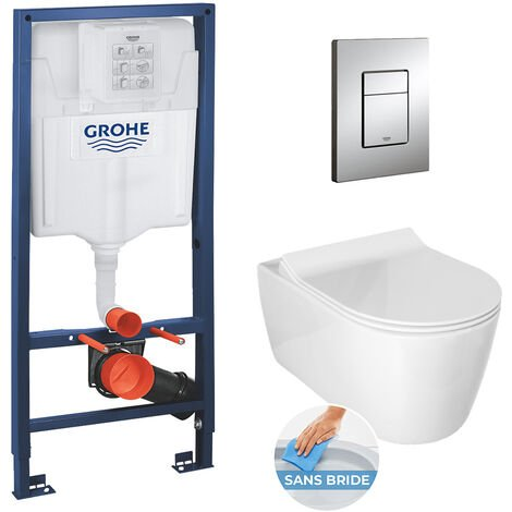 Grohe / Idevit Pack WC Rapid SL + cuvette Alfa sans bride + plaque chrome (RapidSlAlfaRimless)