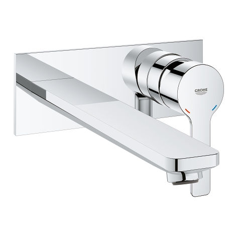 Grohe Linear 2-hole basin mixer, wall mounted, projection 215mm