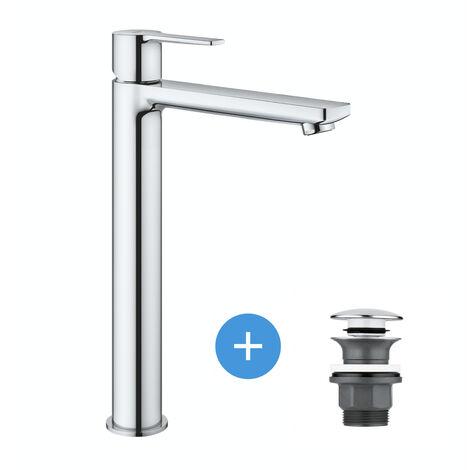 Grohe Lineare Set Mitigeur Monocommande Lavabo Taille XL + Bonde clic clac Grohe pour lavabo avec trop-plein (23405001-CLICCLAC)