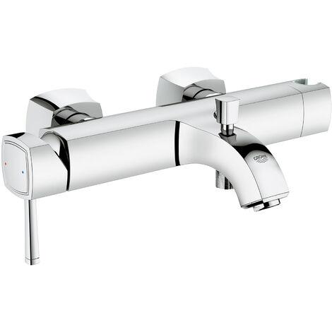 Grohe Mitigeur monocommande de baignoire Grandera DN 15, montage mural, inverseur bain/douche automatique, Coloris: Chrome / Or - 23317IG0