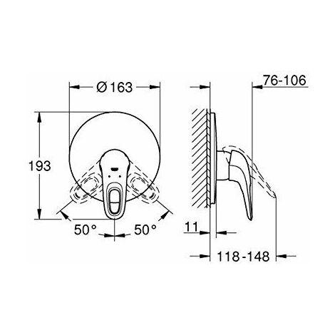 Grohe Mitigeur monocommande de douche Eurostyle, kit de montage complet, béquille ouverte, Coloris: chrome - 19507003