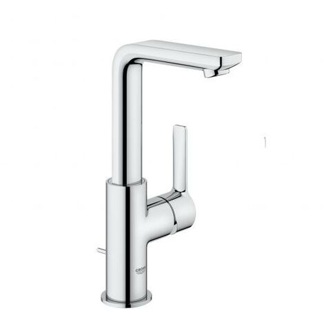 Grohe Mitigeur monocommande de lavabo linéaire, taille L, avec kit de vidange, Coloris: acier super - 23296DC1