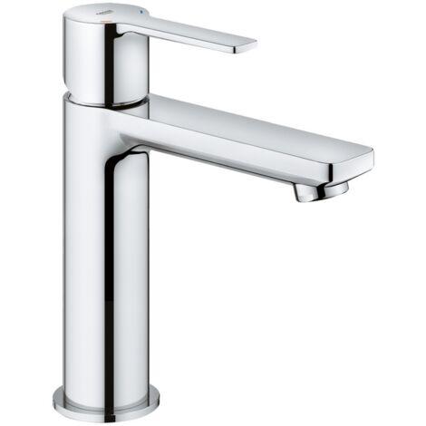 Grohe Mitigeur monocommande de lavabo Linear, taille S, sans kit de vidange, Coloris: acier super - 23106DC1