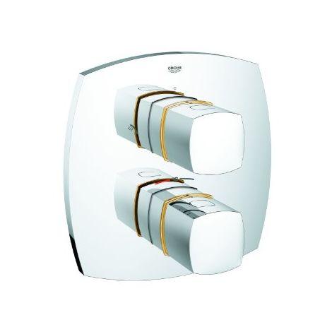 Grohe Mitigeur thermostatique douche Grandera avec inverseur 2 voies intégré, Coloris: Chrome / Or - 19937IG0