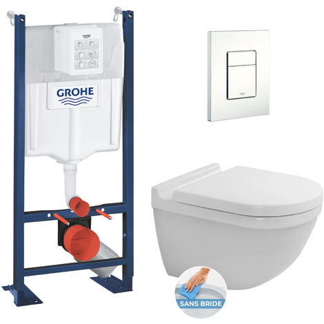 Grohe Pack Bâti autoportant + WC Duravit Starck3 rimless fixations invisibles + Abattant softclose + Plaque blanche (ProjectStarck3-4)