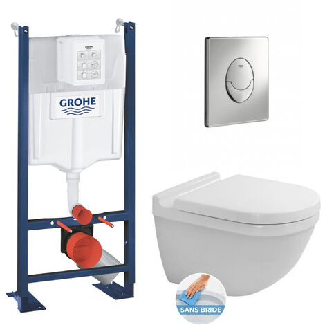 Grohe Pack Bâti autoportant + WC Duravit Starck3 rimless, fixations invisibles + Abattant softclose + Plaque Chrome (ProjectStarck3-2)