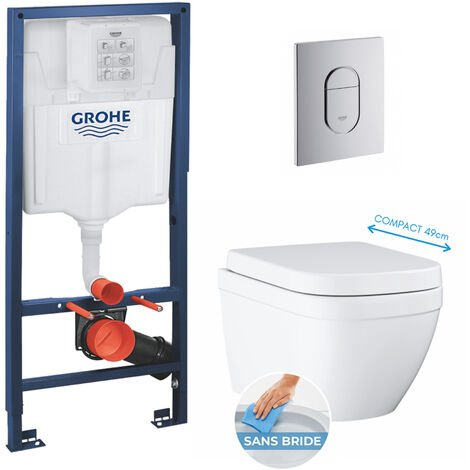 Grohe pack bâti-support Rapid Sl + plaque Arena chrome + cuvette Euro Ceramic Compact + abattant softclose (euroceramicset2)