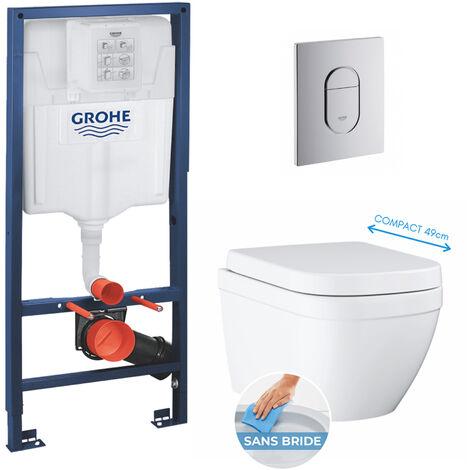 Grohe pack bâti-support Rapid Sl + plaque Arena chrome + cuvette Euro Ceramic Compact + abattant softclose (euroceramicset2)