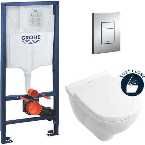 Grohe pack bâti-support Rapid Sl + plaque Skate Cosmopolitan + cuvette Villeroy & Boch + abattant softclose (ArchitecturaGrohe1)