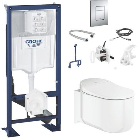 Grohe Pack Complet Sensia Arena Rapid Sl Wc Lavant Suspendu Kit D Installation Pour Chasse Automatique Plaque Sensia Set