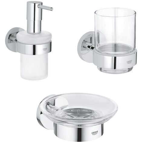 GROHE - Pack distributeur de savon + porte-savon + verre en cristal Grohe Essentials