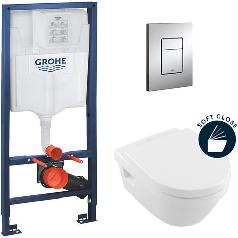 Grohe Pack Rapid SL support frame + Villeroy & Boch Architectura toilet bowl + softclose toilet seat (ArchitecturaGrohe1)