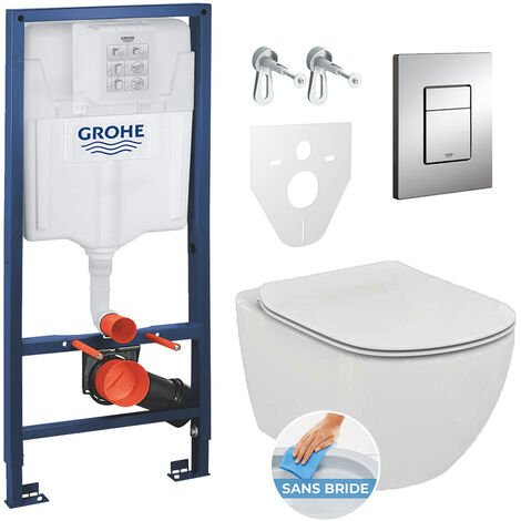 Grohe Pack toilets Rapid SL GROHE + Toilet bowl Ideal Standard Tesi Aquablade + flush plate Grohe Skate Chrome