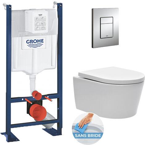 Grohe Pack WC autoportant avec cuvette Swiss Aqua Technologies sans bride + Plaque chrome (ProjectSATrimless-1)