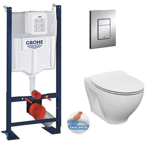 Grohe Pack WC autoportant + Cuvette Cersanit sans bride + Abattant softclose + Plaque chrome (ProjectDormo-1)