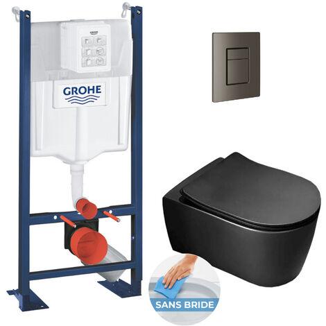 Grohe Pack WC Bâti autoportant avec Cuvette Alfa noire sans bride + Abattant softclose + Plaque Hard graphite (ProjectBlackAlfa-AL0)