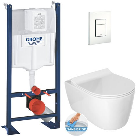 Grohe Pack WC Bâti autoportant avec Cuvette Alfa rimless fixations invisibles + Abattant softclose + Plaque blanche (ProjectAlfa-4)