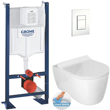 Grohe Pack WC Bâti autoportant avec Cuvette Alfa rimless fixations invisibles + Abattant softclose + Plaque blanche (ProjectAlfa-4)