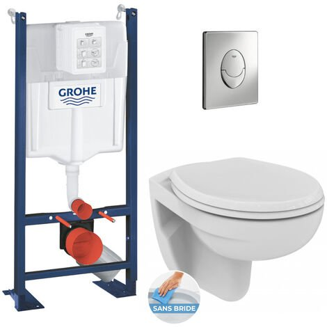 Grohe Pack WC Bâti autoportant avec Cuvette Porcher rimless + Abattant + Plaque chrome (ProjectPorcher-2)