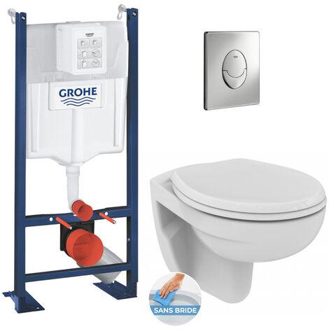 Grohe Pack WC Bâti autoportant avec Cuvette Porcher rimless + Abattant + Plaque chrome (ProjectPorcher-2)