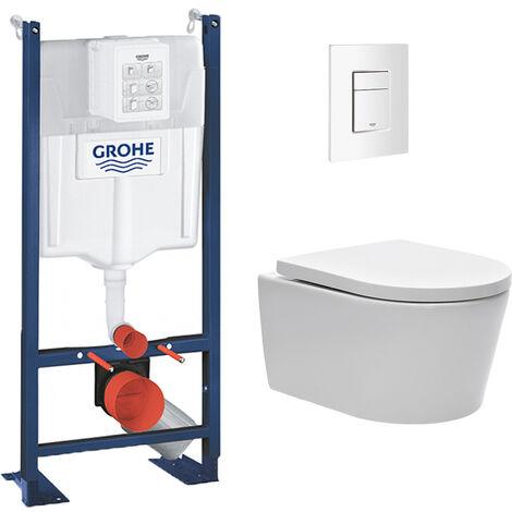 Grohe Pack WC Bâti autoportant avec Cuvette Swiss Aqua Technologies sans bride + Plaque blanche (ProjectSATrimless-4)