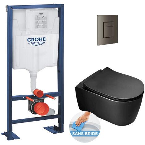 Grohe Pack WC Bâti autoportant + Cuvette Alfa noire sans bride + Abattant softclose + Plaque Hard graphite (AutoportantBlackAlfa-AL0)