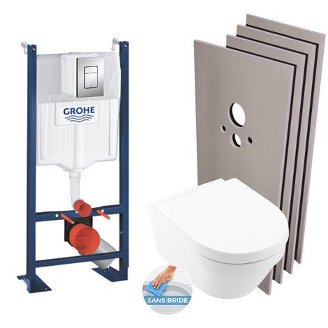 Grohe Pack WC Bâti autoportant + Cuvette Architectura sans bride + Plaque chrome + Set habillage (HProjectArchitectura2-1)