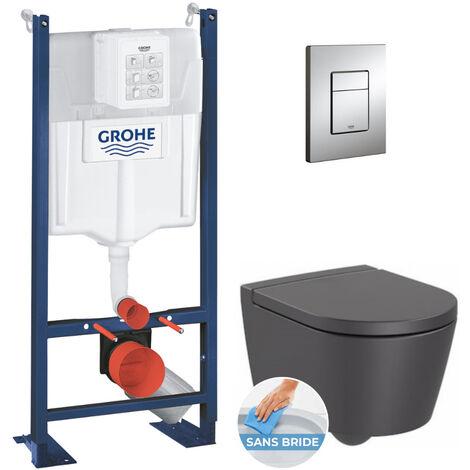 Grohe Pack WC Bâti autoportant + Cuvette Roca Inspira onyx sans bride fixations invisibles + Plaque chrome (ProjectInspiraO-1)
