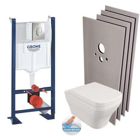 Grohe Pack WC Bâti autoportant + Cuvette Roma sans bride + Plaque Skate Air chrome + Set d'habillage (ProjectRoma-2-sabo)